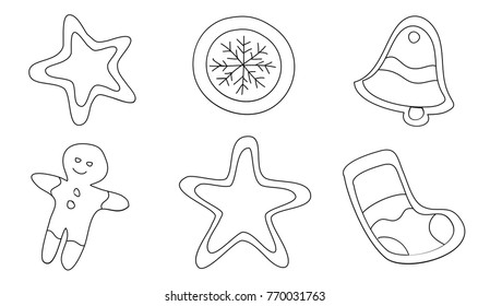 Set of hand drawn contours of the Christmas cookie - snowflake, sock, star, gingerbread man, bell