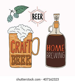 The set of hand drawn craft beer mug and home brewing pot for your design. Vector illustrations for print and web projects.