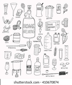 The set of hand drawn craft beer and home brewing elements for your design. Vector illustrations for print and web design projects.
