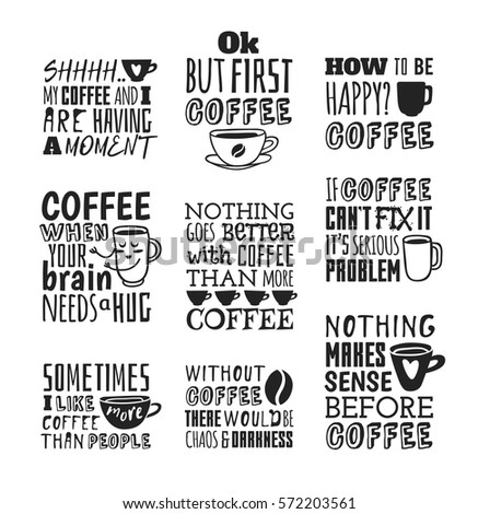 Set Hand Drawn Cup Quotes Vector Stock Vector Royalty Free