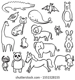 set of hand drawn cute animals. children's illustrations. animals doodle isolated on white background.
