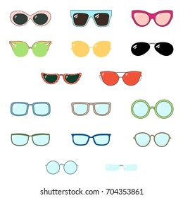 Set of hand drawn cute cartoon glasses and sunglasses of various colours and shapes. Isolated objects on white background. Vector illustration Design elements.