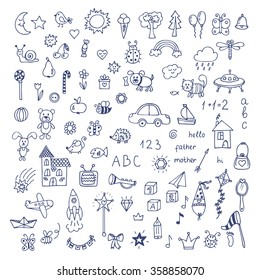 Set of hand drawn cute doodles. Doodle children drawing. Hand drawn set of drawings in child style. Vector illustration