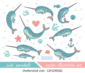 Set of hand drawn cute funny narwhals. Doodle whales for print designs, posters, t-shirts. Cartoon characters. Sketch arctic animals. Colorful vector illustrations isolated on white background.