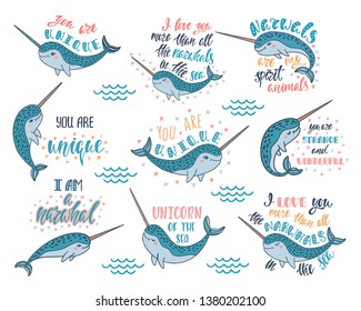 Set of hand drawn cute funny narwhals with inspirational quotes. Doodle whales for print designs, posters, t-shirts. Cartoon characters. Graphic vector illustrations isolated on white background.