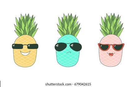 Set of hand drawn cute funny stickers with pink, yellow and turquoise pineapples wearing different sunglasses, with text Be cool.  Isolated objects on white background. Design concept.