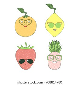 Set of hand drawn cute funny stickers with different fruits (pineapple, orange, lemon, strawberry) in glasses. Isolated objects on white background. Vector illustration Design concept for children.