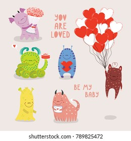 Cute Monsters Lovely Monster Set Children Stock Vector Royalty Free