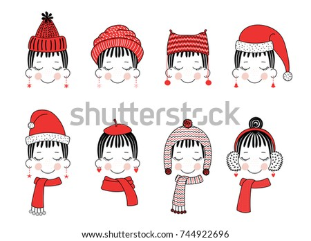 cd3c829383e Set of hand drawn cute funny smiling girl faces in different warm hats