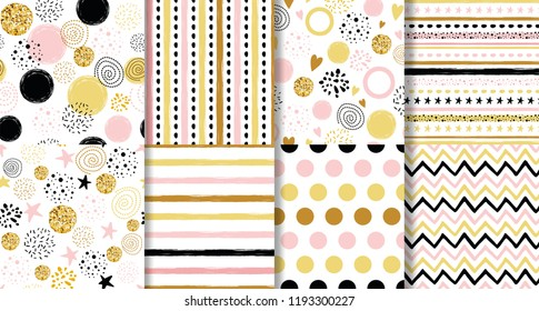 Set of hand drawn cute seamless birthday party backgrounds with gold pink black round shapes elements Perfect for baby shower birthday party invitation christmas wallpaper wedding wrap For boys girls.
