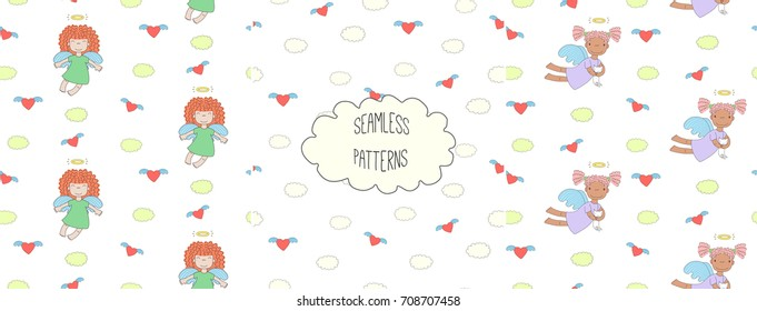 Set of hand drawn cute seamless vector patterns with little angel girls, one holding a cat, hearts, clouds, on a white background. Design concept for children textile print, wallpaper, wrapping paper