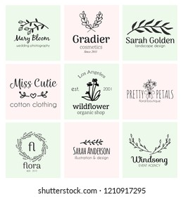 Set of hand drawn cute, stlish and simple premade logo designs for business and stationery. Collection of vector icons and illustrations for business and advertising