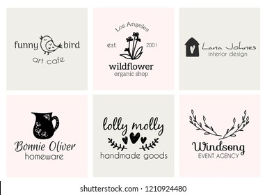 Set of hand drawn cute, stylish and simple premade logo designs for business and stationery. Collection of vector icons and illustrations