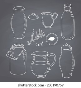 Set of hand drawn dairy farm objects. Milk goods clip art. Chalk style vector illustration. Chalkboard food background