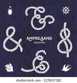 Set of hand drawn decoration ampersands for letters, rope navy design