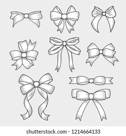 Set of hand drawn decorative bows. Decoration for traditional holidays and gift boxes. Vector illustration.