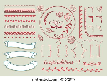 set of hand drawn decorative elements for greeting and invitation cards. text decoration. vector design elements