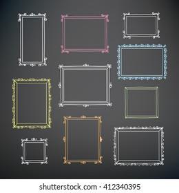 Set of hand drawn decorative vintage frames. Hand drawn on the chalkboard. Doodles, sketch for your design. Vector illustration.