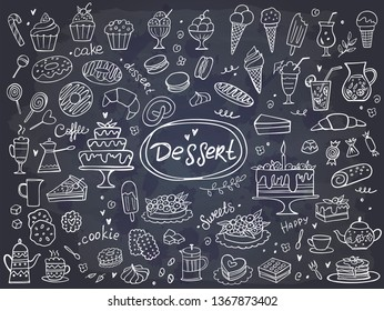 Set of hand drawn delicious sweets on chalkboard. Vector illustration. Cakes, biscuits, baking, cookie, pastries, donut, ice cream, macaroons. Perfect for dessert menu or food package design.