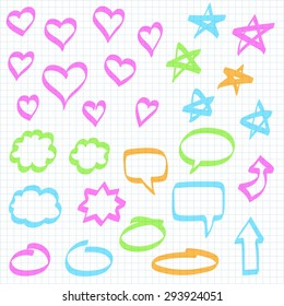Set of hand drawn design elements: highlighter marker doodles on squared notebook paper. Hearts, stars, speech bubbles, arrows and other shapes.