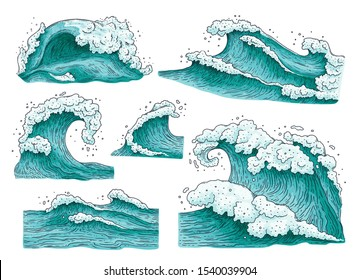 Set of hand drawn detailed ocean water waves and splashes cartoon vector illustrations isolated on white background. Surfing wave or stormy sea elements collection.