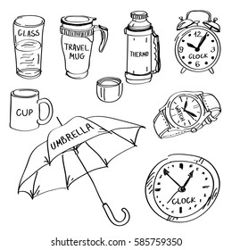 Set of hand drawn different items doodles isolated on a white background. Vector illustrations of glass, cup, travel mug, thermos, clock, wall clock, watch, umbrella.
