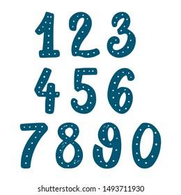 Set of hand drawn digits. Design element for poster, card, banner, sign, flyer. Vector illustration