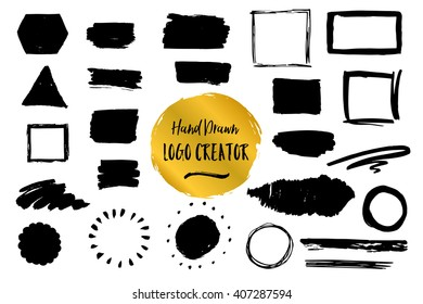 The set of hand drawn diverse logo design elements. Rough, textured shapes, splotches, strokes and grunge frames. Vector background for print and web design projects.