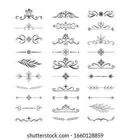 Set of hand drawn dividers, borders, frames, lines. Elegant vintage design elements. Vector isolated illustration.