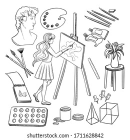 Set of hand drawn doodle artist on a white background. Draw at home, be safe. Girl with an easel. Paints, palette, canvas, pencils, still life, brushes. Vector stock illustration.