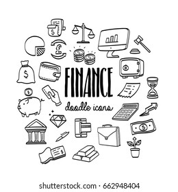 Set hand drawn doodle business and finance icons.