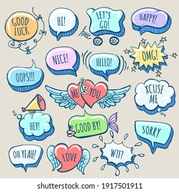 Set of Hand Drawn Doodle Cartoon Speech Bubbles with wordings. Vector illustration.