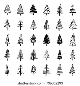 Set of hand drawn doodle Christmas trees. Brush painted stylized trees for New Year and Christmas greeting cards, wrapping holiday design.