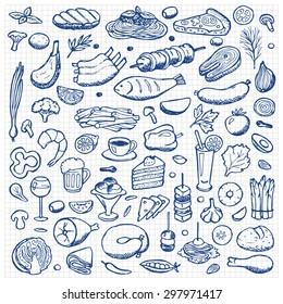 Set hand drawn doodle food and drink elements on squared paper. Vector illustration for backgrounds, web design, design elements, textile prints, covers, posters, menu