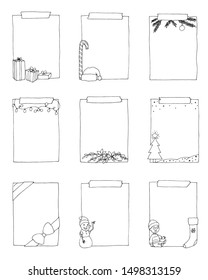 set of hand drawn doodle frames, Christmas collection