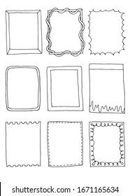 Set of hand drawn doodle frames.
