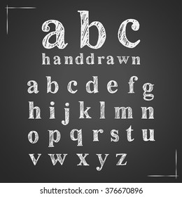 Set of hand drawn doodle letters alphabet. English lowercase scribbled serif font. Vector white chalk lettering design.