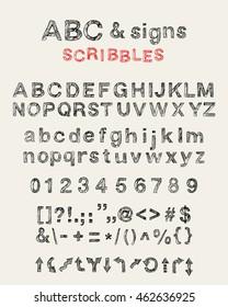 Doodle alphabet images stock photos vectors shutterstock set of hand drawn doodle letters alphabet english uppercase lowercase scribbled sans serif font altavistaventures Image collections