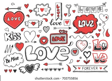 Set of hand drawn doodle love elements for wedding, Valentine's Day card, sticker, stamp design. Vector illustration with heart, love, speech bubble, arrow, lettering text. Hand drawn sketch style.