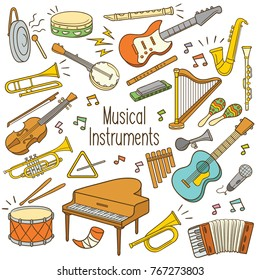 Set of hand drawn doodle musical instrument in color