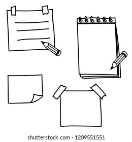 Set hand drawn doodle notepaper for messages. Vector note papers.