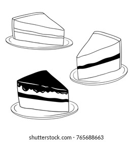 Set Hand drawn doodle piece of cake on plate. Hand drawn doodle icon sweet dessert. Vector illustration.