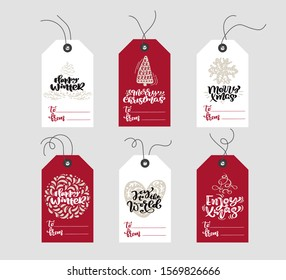 Set of hand drawn doodle scandinavian Christmas element tags with place for text. Collection holiday vector gift tags and bundle decorative hygge xmas elements
