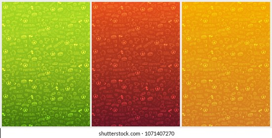 Set of Hand drawn doodle soccer or football backgrounds. Isolated elements. Vector illustration