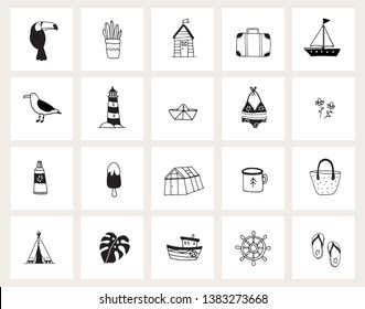 Set of hand drawn doodle web icons. Line art. Summer, holiday, travel concept. Black and white design. Isolated vector illustrations, sketches. Animals, plants, food, drink and lifestyle objects.