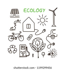 Set of hand drawn ecology symbols with house, wind power plant, solar power plant, sun, lamp, e-car, bike, gas station, water, batery, trees and lettering. Vector illustration.