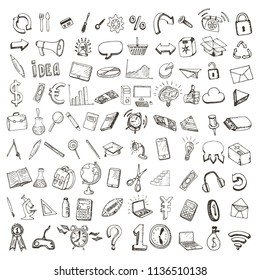 Set of hand drawn education, web and business icons.
