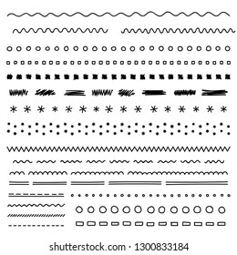Set of hand drawn elements, borders, dividers, doodle lines