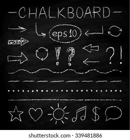 Set of hand drawn elements and icons in chalk style. Chalk board texture may be used separetely. Vector illustration.