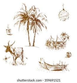 Set of hand drawn elements from the indian coast